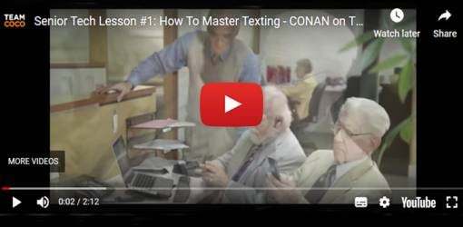 conan obrien, senior tech lesson, team coco, seniors humour, funny how to, seniors texting humour, seniors funny videos, seniors online dating, twitter for seniors, social media, catfishing explained
