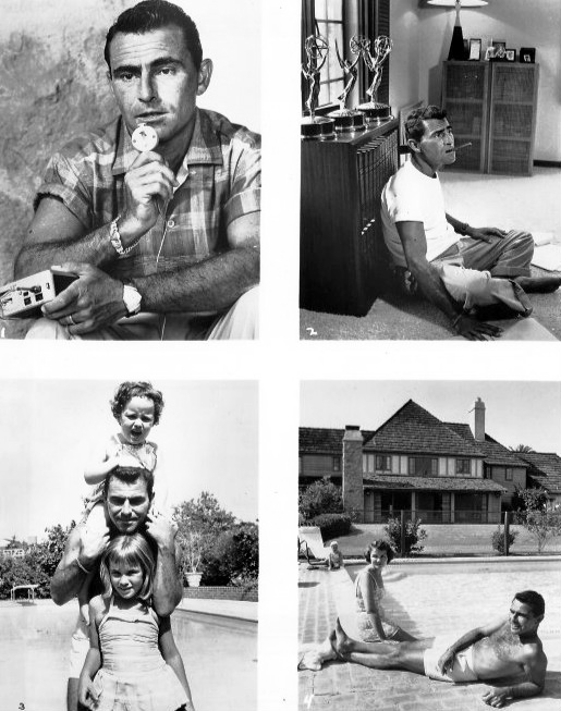 rod serling 1959, the twilight zone series producer, creator the twilight zone, rod serlings wife carol, rod serling family, rod serling at work, rod serling home