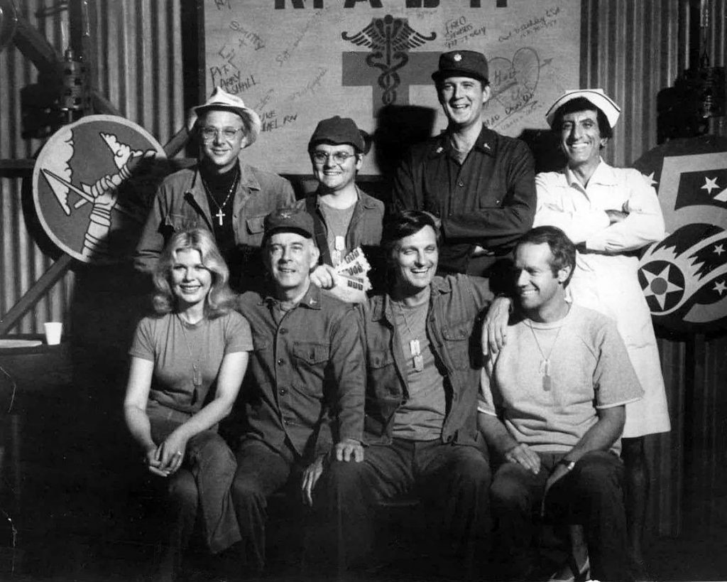 mash 1977 cast, loretta swit, major margaret hot lips houlihan, harry morgan, col sherman t potter, alan alda, captain benjamin franklin hawkeye pierce, mike farrell, captain b j hunnicutt, william christopher, father francis mulcahy, gary burghoff, cpl walter radar oreilly, jamie farr, cpl maxwell q klinger, david ogden stiers, major charles winchester, 1970s television series, 1970s sitcoms, emmy awards, korean war comedy