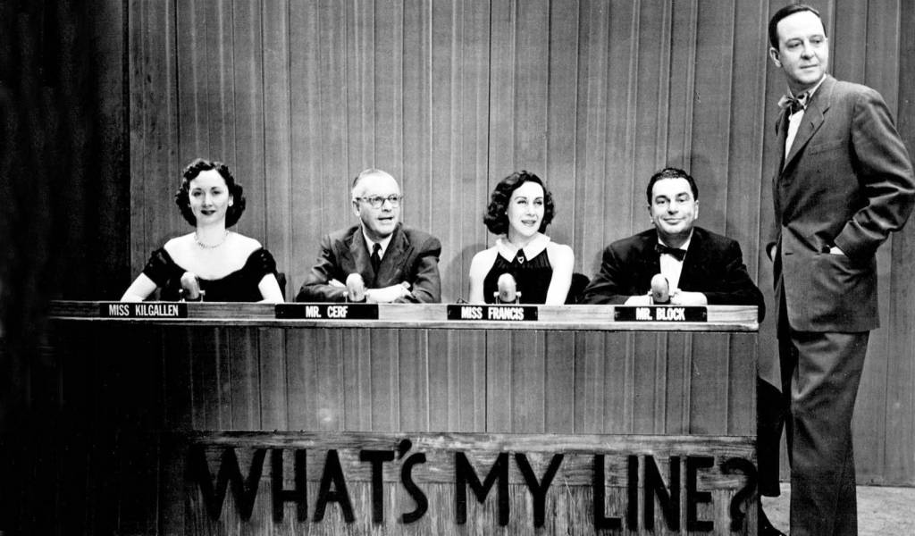 whats my line 1952, tv game shows, dorothy kilgallen, bennett cerf, arlene francis, john charles daly host, hal block