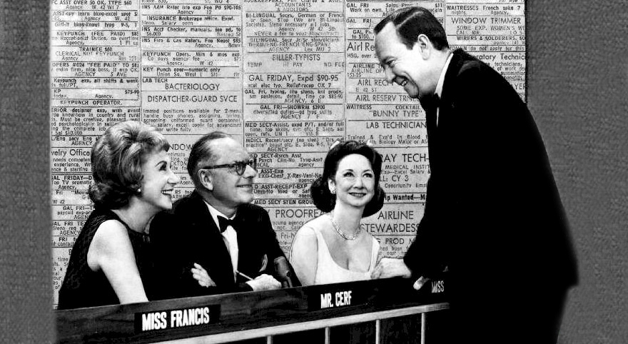 whats my line 1965 cast, arlene francis, bennett cerf, dorothy kilgallen, john charles daly host, american tv shows, 1960s tv game shows