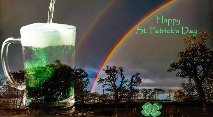 happy st patricks day, four leaf clover, shamrock, rainbows, belfast, ireland,