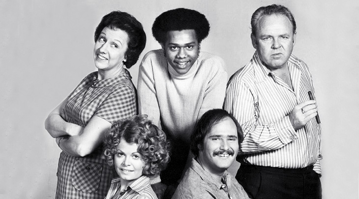 all in the family 1973 cast, boomer tv trivia, baby boomer television, carroll o'conor, archie bunker, jean stapleton, edith bunker, sally struthers, gloria bunker, rob reiner, michael stivic, mike evans, lionel jefferson, emmy awards, 1970s sitcoms, 1970s television comedy series