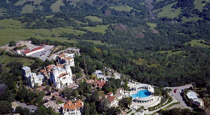 hearst castle, the hearst ranch, san simeon, california, la cuesta encantada, xanadu, aerial view, san luis obispo county, mansion, william randolph hearst, museum