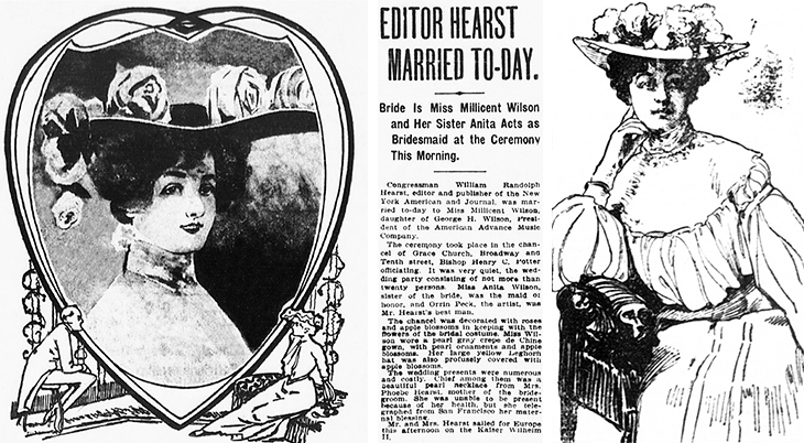 millicent veronica willson hearst, millicent hearst, married, wife, william randolph hearst, new york, showgirl, wedding, 1903, april 28, bride