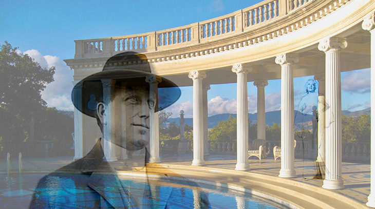 william randolph hearst, hearst catle, roman pool, san simeon, camp hill, hearst ranch, marion davies, newspaper publisher, american millionaire, actress, silent movies, film star,