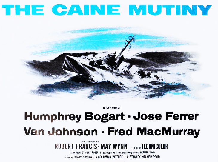 1954, movies, world war ii, films, the caine mutiny, movie ad, film poster, herman wouk books,