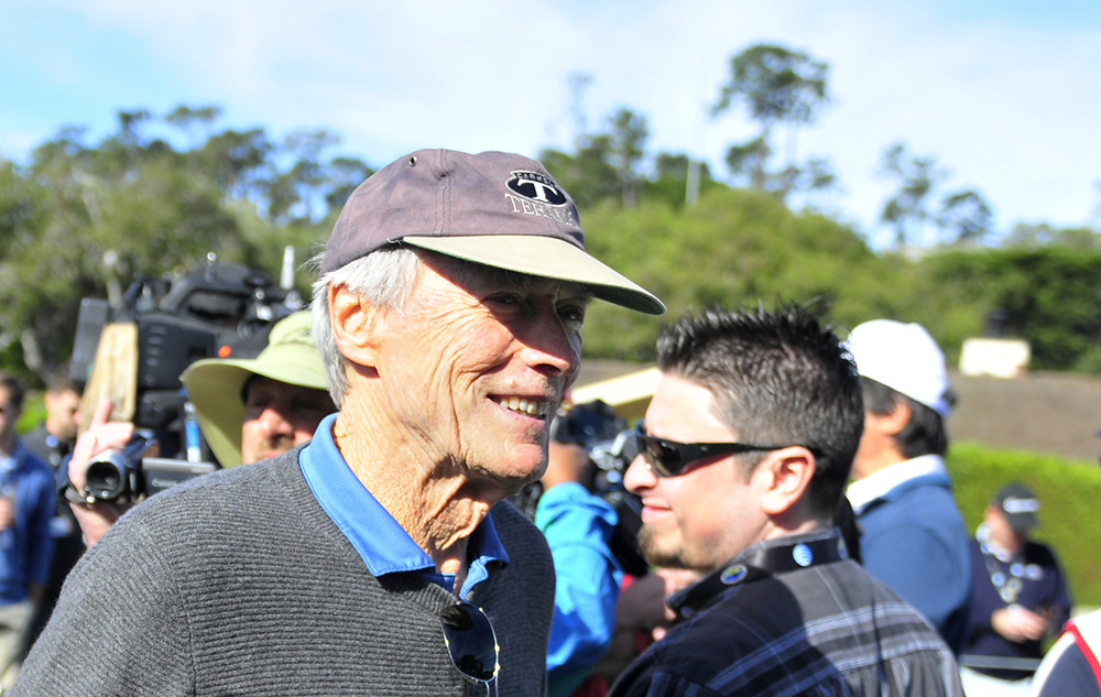 clint eastwood 2015, pebble beach golf links, 3m celebrity challenge golf touranment, golfer, octogenarian, senior citizen, american actor