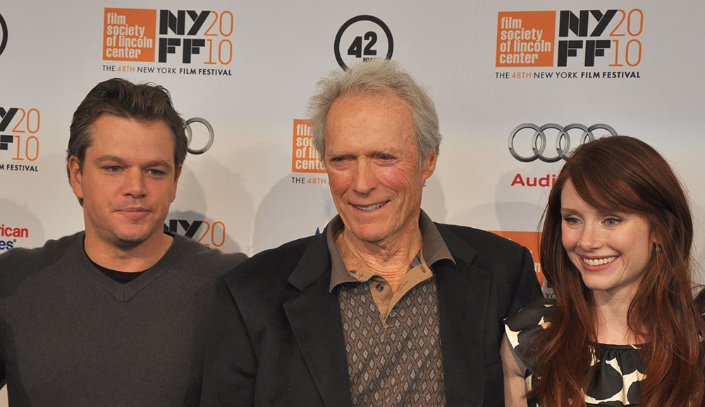 clint eastwood 2009, matt damon, bryce dallas howard, american actors, actresses, 2010 new york film festival, movie producer, director, costars, senior citizen, septuagenarian