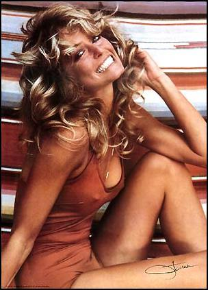farrah fawcett 1970s, american actress, red bikini poster