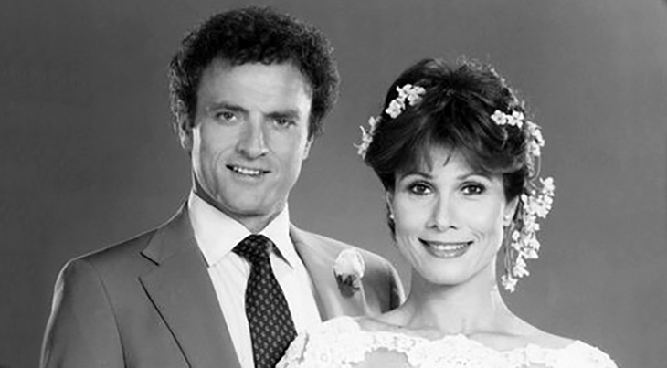 knots landing, wedding of karen and mac, boomer tv trivia, 1979s television series, primetime tv soap operas, 1980s tv shows, dallas spin-off, gary ewing, ted shackleford, ewing family, valene ewing, joan van ark, karen mackenzie, michele lee, mack mackenzie, kevin dobson, greg sumner, william devane, abby sumner, donna mills, anne matheson sumner, michelle phillips, nicolette sheridan, paige matheson
