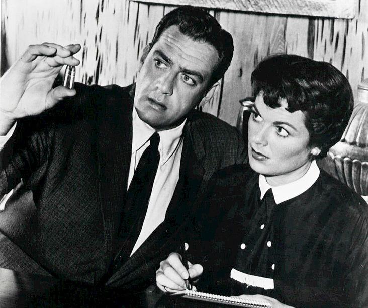 raymond burr 1958, perry mason, barbara hale, della street, 1950s tv show, 1950s television series
