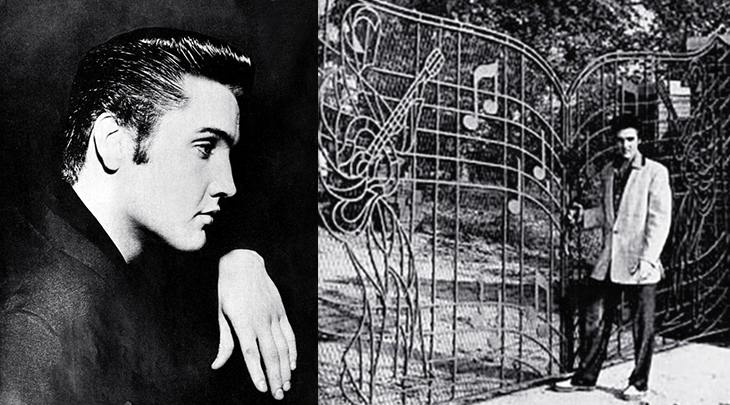 elvis presley, american singer, rock and roll, rock singer, graceland, memphis, tennessee, mansion, 1957, iron gates, landmark, estate