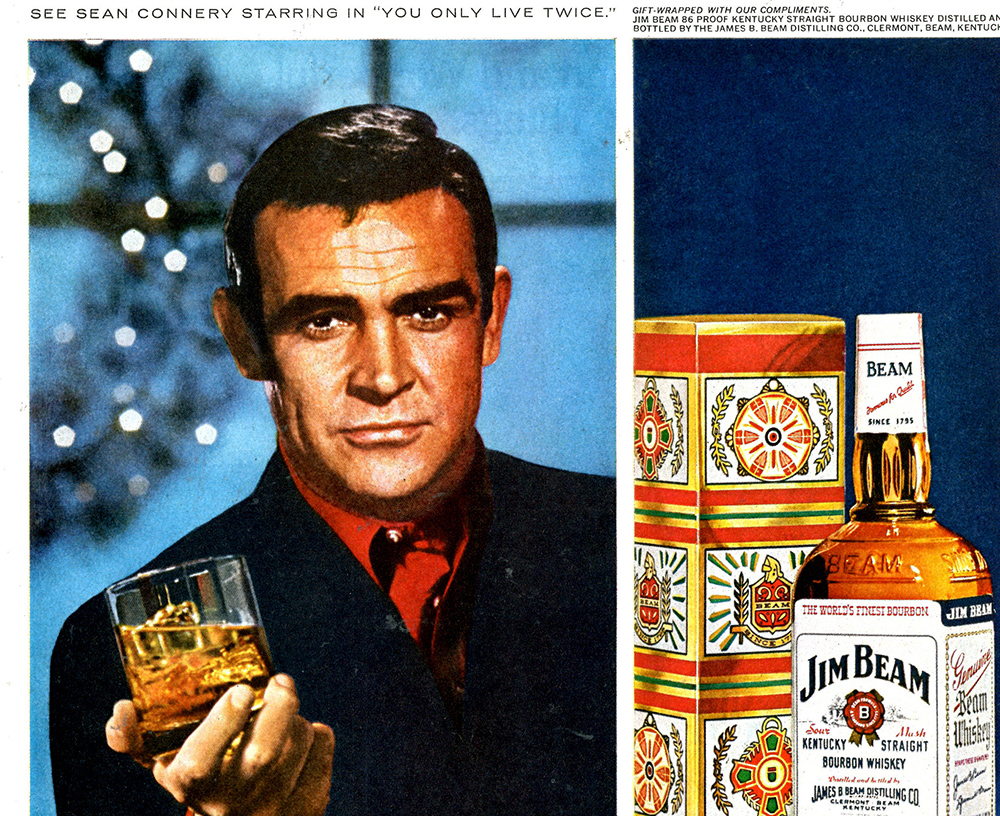 sean connery 1966, scottish actor, 1960s movies, 1960s movie star, james bond films, you only live twice advertisement, life magazine ad, jim beam whiskey ad
