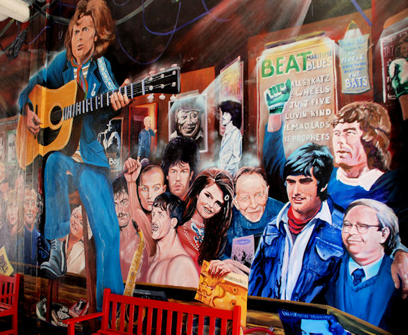 van morrison mural, belfast personalities mural, george pest, peter jennings, northern irish people, irish singer songwriter, irish soccer players