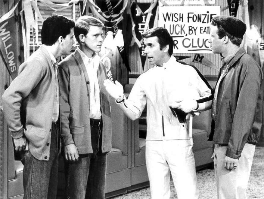 henry winkler 1975, happy days cast, arthur fonzarelli, the fonze, fonzie, american actors, ron howard, don most, anson williams, ralph malph, potsie weber, richie cunningham, baby boomer television