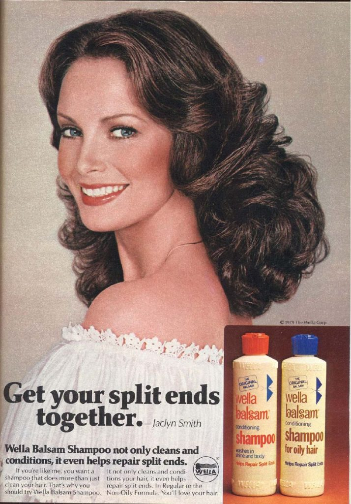 jaclyn smith 1970s, wella balsam shampoo ad, american actress, model