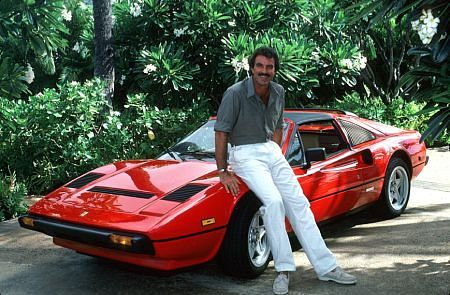 magnum pi, 1980s television series, tv shows in hawaii, tom selleck 1980s, american actor, thomas magnum, red ferrari 308 gts, baby boomers, hawaii