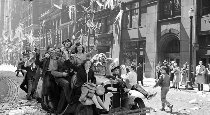 may 7 1945, ve day celebrations, toronto ontario, canada, city of toronto