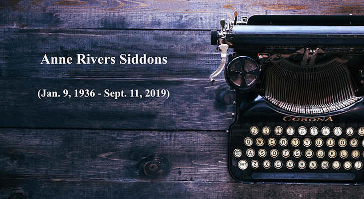 anne rivers siddons, born january 9th, died september 11th, american author, novelist, typewriter