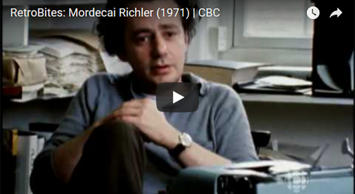 mordecai richler 1971, jewish canadian writer, lived in montreal quebec, journalist, screenwriter, novelist, cbc interviews, author, the apprenticeship of duddy kravitz, barneys version, friend stanley mann, married florence wood mann, married catherine boudreau, divorced catherine boudreau, son daniel richler, 50+, senior years, senior citizen, septuagenarian