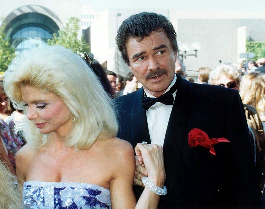 burt reynolds 1991, loni anderson, 43rd emmy awards, married, divorced, american actor, actress, younger