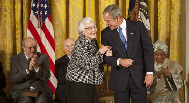harper lee 2007, nelle harper lee, harper lee dead, to kill a mockingbird, baby boomers, seniors, octogenarian, senior citizen, atticus finch, novelist, go set a watchman, president george w bush, presidential medal of freedom, the white house