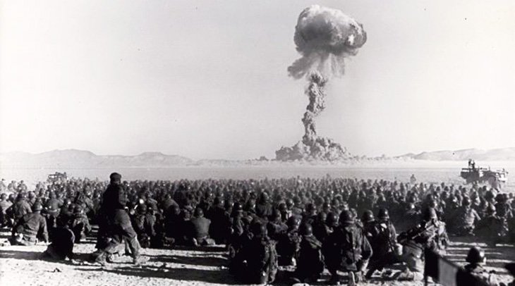 february 1951, atomic bomb testing, atomic bomb tests, nevada test site, las vegas, united states soldiers, troops, nuclear field exercise, tourist attractions, 1950s, operation buster jangle dog, desert rock 1
