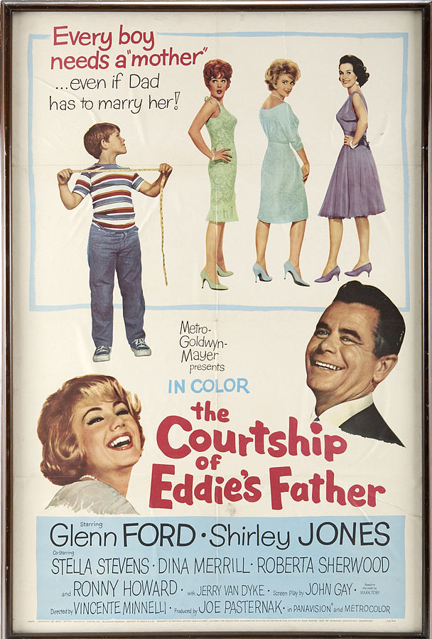 shirley jones, glenn ford, 1960s movies, the courtship of eddies father, movie poster, stella stevens, dina merrill roberta sherwood