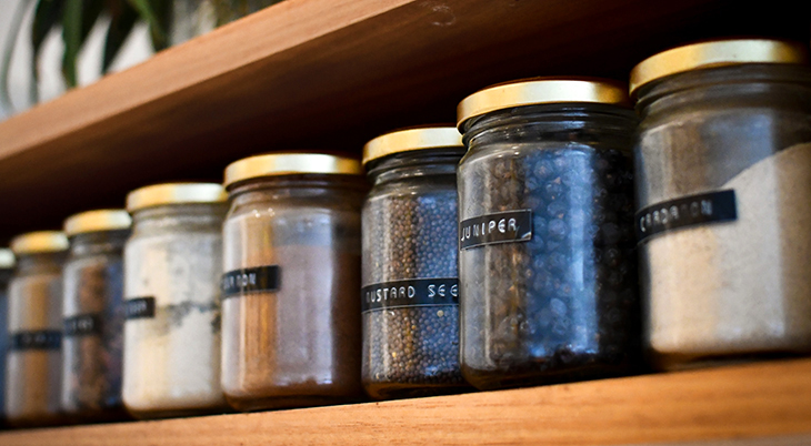 spice rack, food labels, healthy eating, glass jars, kitchen tools