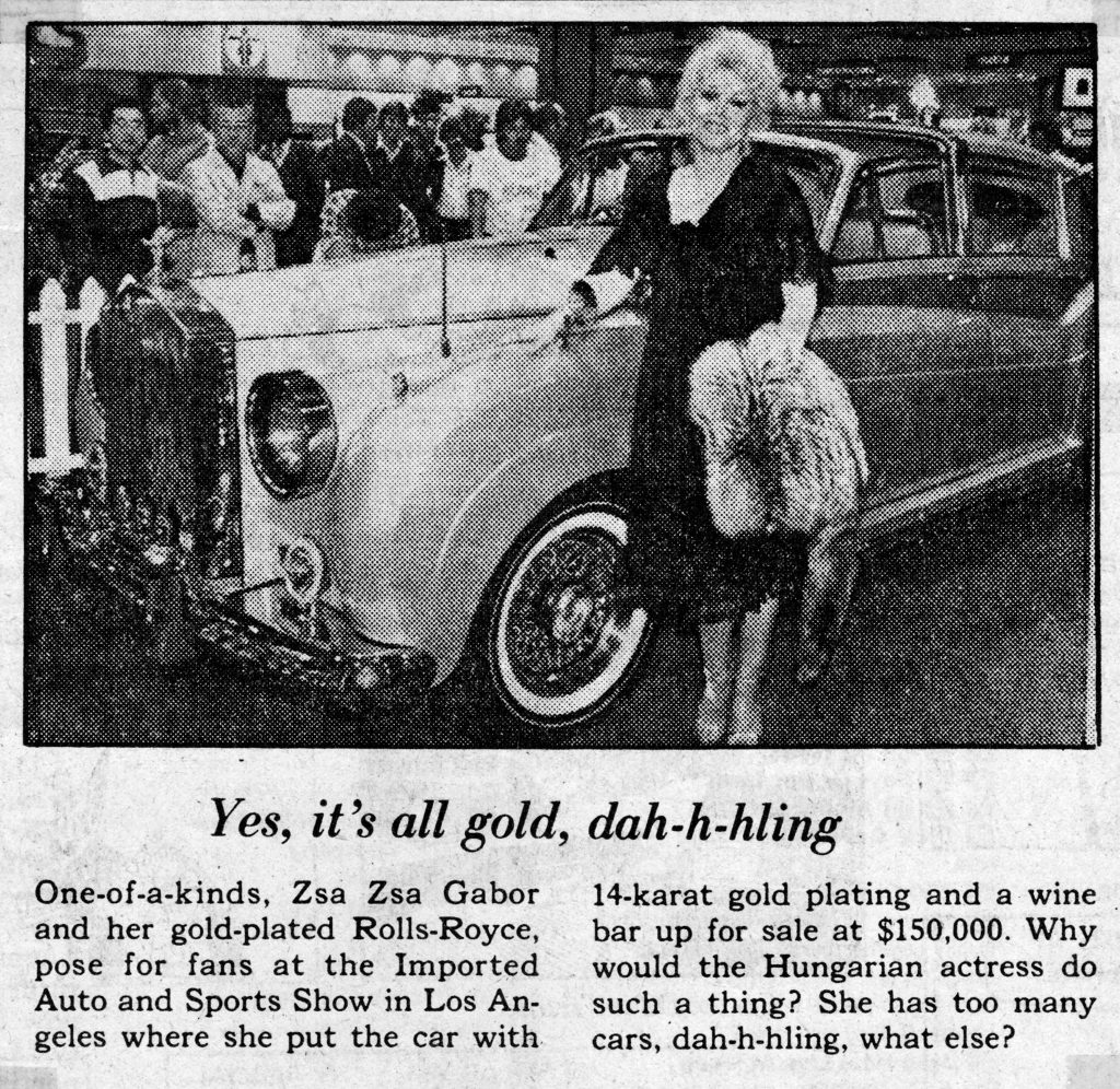 zsa zsa gabor 1979, hungarian american actress, gold plated rolls royce car, rolls royce automobile