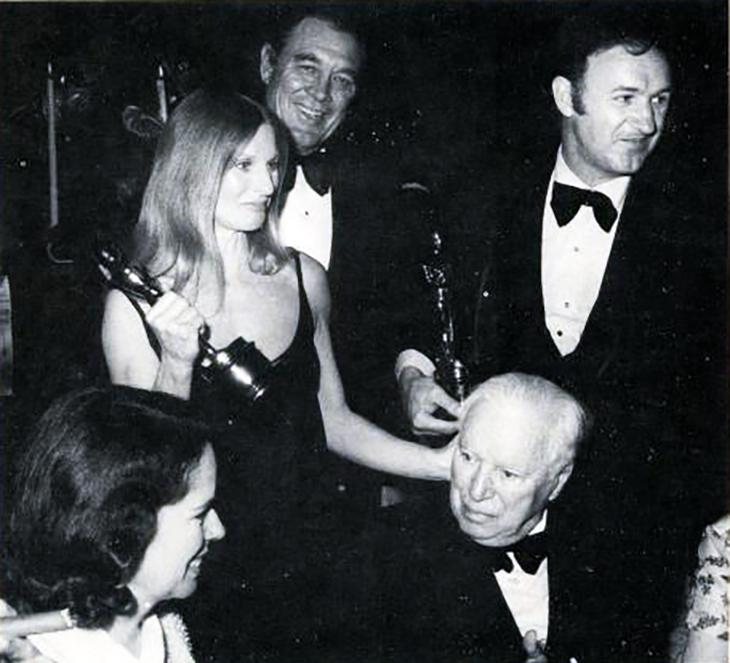 cloris leachman, ben johnson, gene hackman, american actors, charlie chaplin, oona oneil chaplin, film directors, 1972 academy awards, oscar winners, movie stars