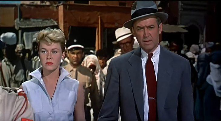 doris day 1956, jimmy stewart, american actors, 1950s movies, alfred hitchcock films, the man who knew too much