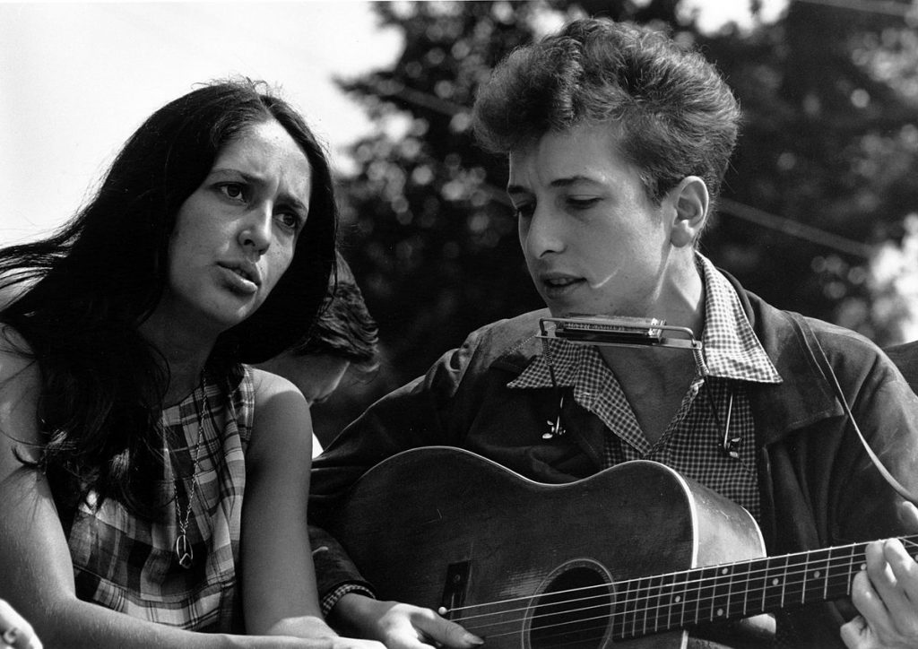 bob dylan 1963, joan baez, american folk singers, songwriters, 1960s civil rights, 1963 civil rights march on washington