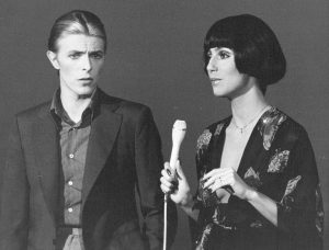cher 1975, david bowie, musical variety show, 1970s tv variety series, american singer, british singer, english singer