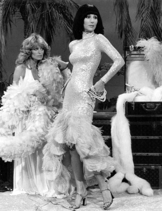 cher 1976, farrah fawcett, the sonny and cher show, 1970s musical variety series, american singer, actresses