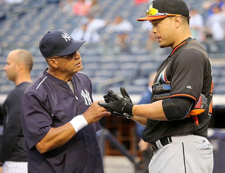 reggie jackson 2015, giancarlo stanton, new york yankees, senior citizen, septuagenarian, baseball players