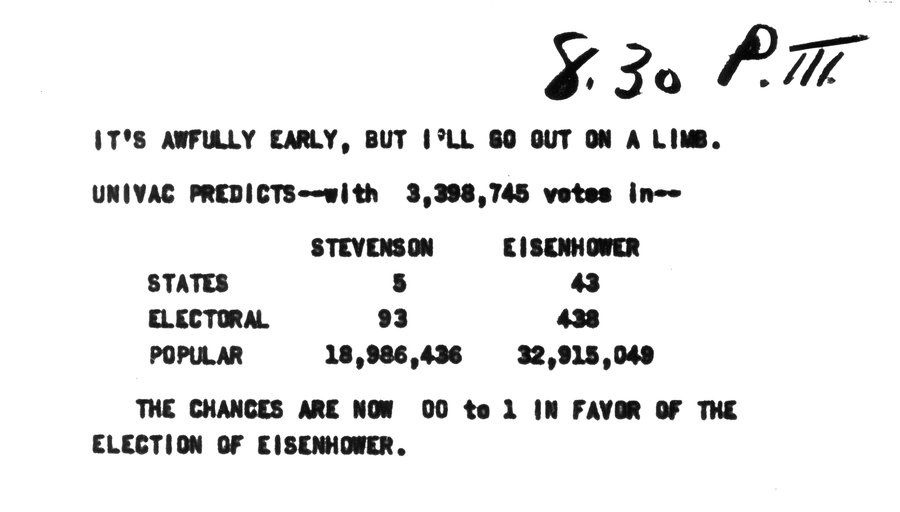 univac i, 1952 election, election prediction, dwight eisenhower, adlai stevenson, june 1951