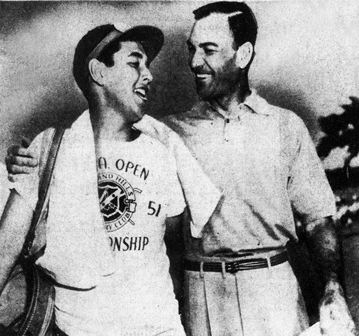 ben hogan, american golfer, professional golf player, golf pro, 1940s, 1950s, golf champion, the wee iceman, bantam ben, caddy dave press, june 1951, us open winner