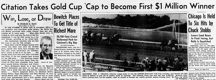 july 1951, events, history, trivia, news, headlines, newspapers, horse racing, race horses, thoroughbreds, citation, horse race, gold cup winner, first 1 million dollar winner