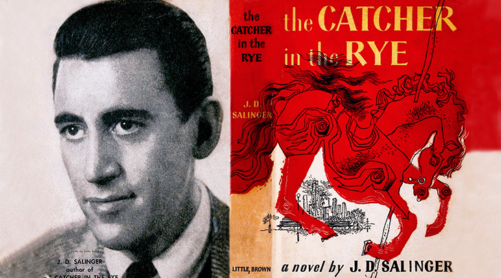 jd salinger, american author, reclusive writer, novelist, novels, best sellers, modern classics, catcher in the rye, holden caulfield, first published, dust jacket, book cover, designer michael mitchell