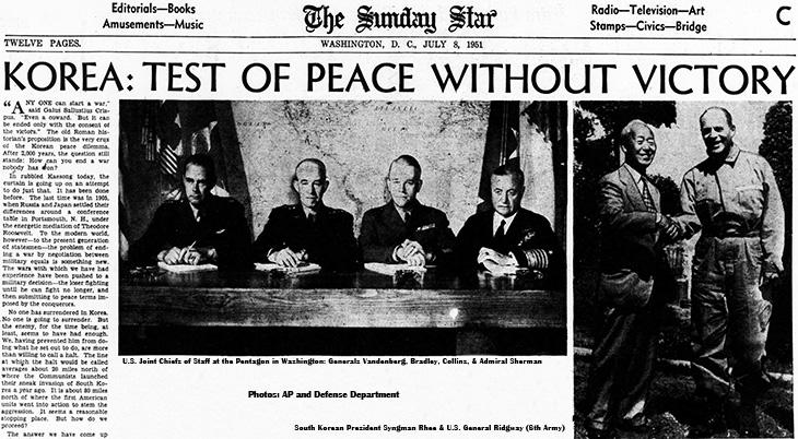 1951 july, korean war, armistice talks, peace talks, kaesong, north korea, pentagon, america, united states, us joint chiefs, generals, vandenberg, bradley, collins, ridgway, admiral sherman, south korea, president syngman rhee