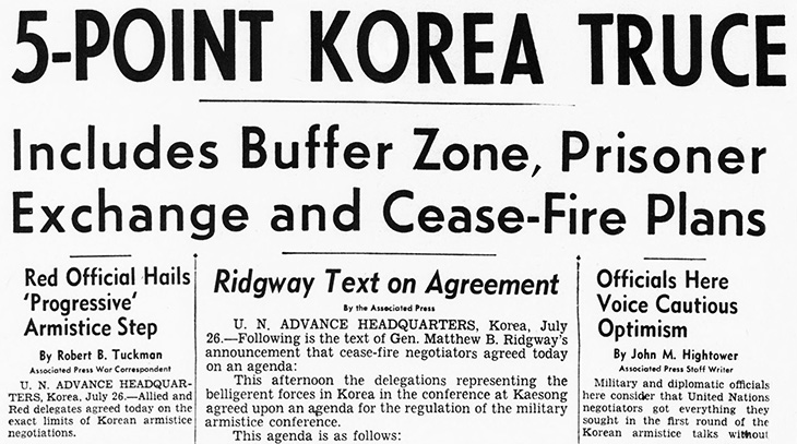 1951 july, korean war, armistice talks, peace talks, kaesong, north korea, united states, us joint chiefs, general ridgway, south korea, 5 point truce agenda, buffer zone, prisoner exchange, cease fire plans, recommendations to korean governments