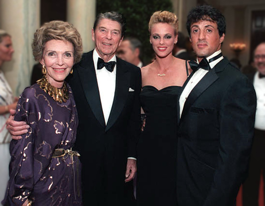 sylvester stallone 1985, brigitte nielsen, president ronald reagan, first lady nancy reagan, movies stars, american actors