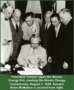 mcmahon atomic energy act, august 1946, atomic energy commission, founding, president truman