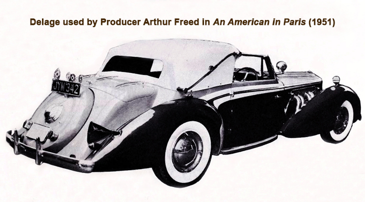 vintage cars, luxury automobiles, delage, french cars, 1951 movies, an american in paris, movie props,