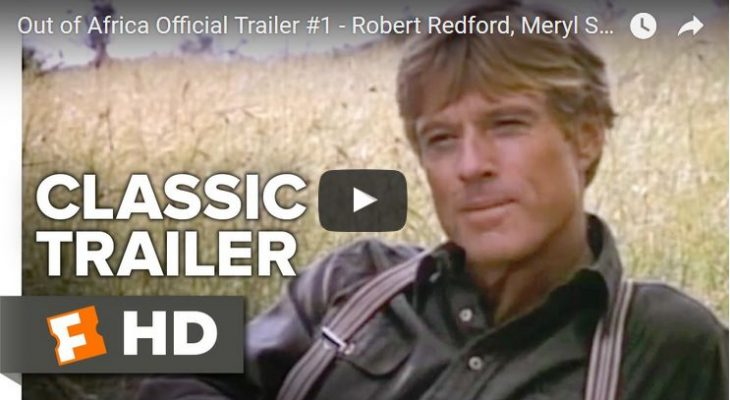 robert redford 1985, american actor, 1980s movies, out of africa, movie trailer