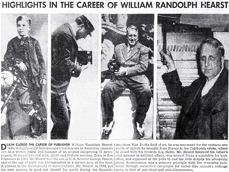 william randolph hearst, american publisher, 1951 august, celebrity death, newspaper magnate, millionaire, san simeon,