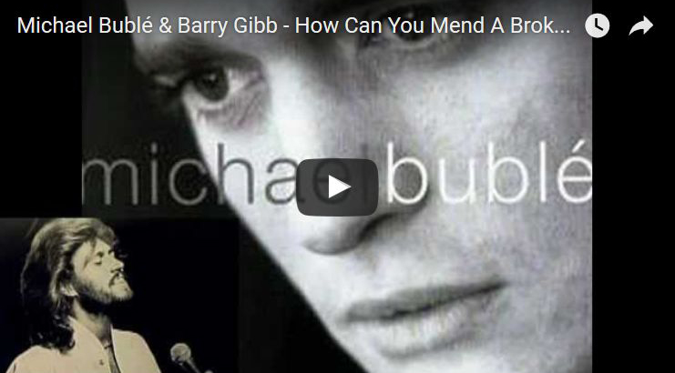 barry gibb, michael buble, cover, how can you mend a broken heart, background vocals, duet