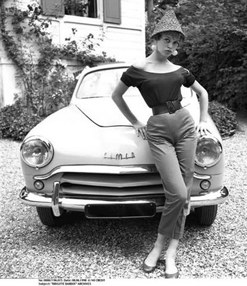 brigitte bardot 1954, french model, actress,1950s movies, simca weekend prototype car, 1950s cars